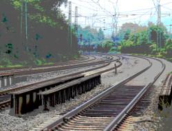 foto: eine mehrgleisige eisenbahnstrecke